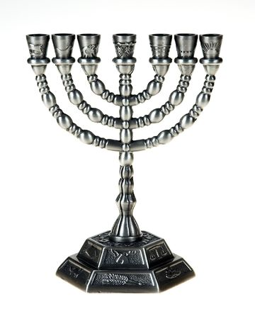 israelite: Menorah on the white background