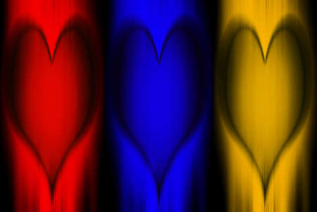 triptych: Art Heart-Primary colors, triptych of hearts carved in wood