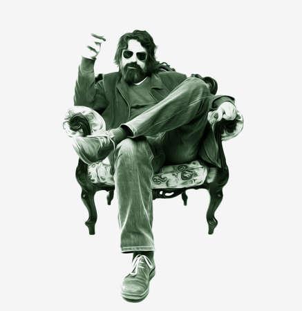 long beard: Man sitting in a armchair, smoking a cigar, oil paint