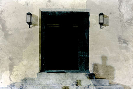 Doorway to run down old home with chipped paint Stock Photo - 18706069