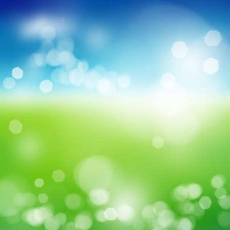 夏の太陽と青い空とぼやけてグリーン フィールド バースト 写真素材