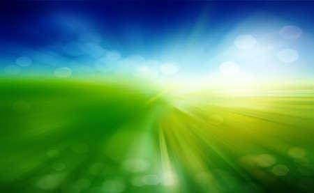 緑の草原、青い空に白い雲