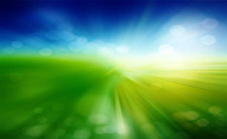 Green field and blue sky with white cloud  Standard-Bild