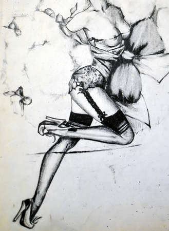 beautiful breasts: Sexy Girl Fashion Illustration