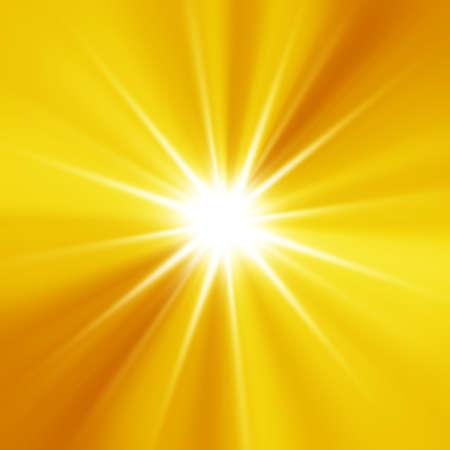 オレンジ色のサンバースト夏休日背景 写真素材