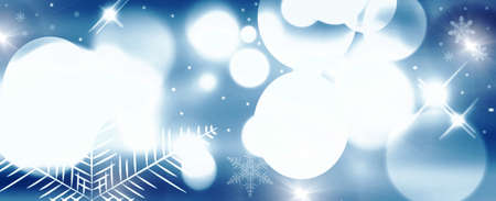 Abstract Christmas background with snowflakes and bokeh lights photo
