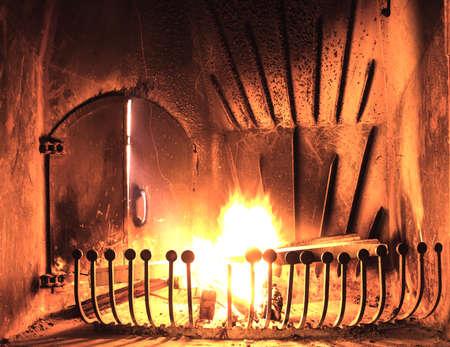 fireplace: Burning Fireplace Stock Photo
