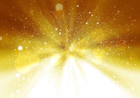 Magic light holiday background. Gold burst. Christmas background Standard-Bild