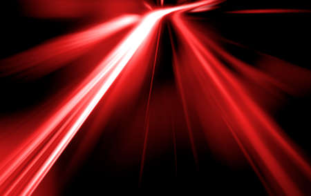 speed car: speed on night road. Red Bright background of the car dipped