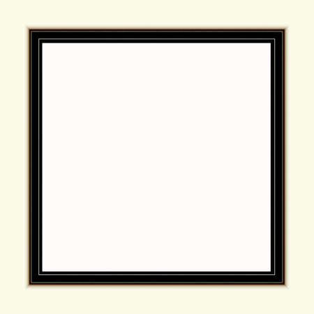 Schwarzbraunes Rahmenmodell in der Nähe der weiß gestrichenen Wand. Leeres Rahmenmodell für Präsentationsdesign. Vorlagenrahmen für moderne Kunst.