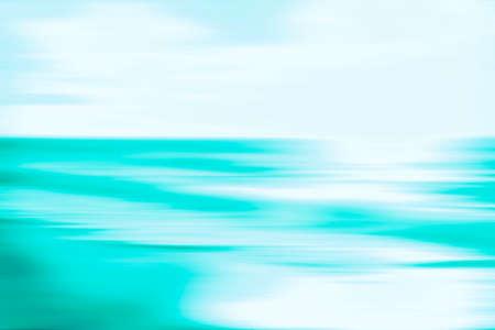 Un paisaje marino abstracto del océano azul con movimiento panorámico borroso. La imagen muestra un aspecto retro vintage con colores procesados en forma cruzada. Foto de archivo