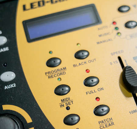 Detail shot of dmx light table with programming keypad, display and configuration and reproduction faders