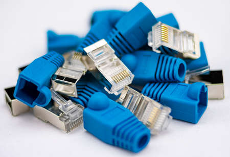 Parts of an RJ45 connector or network cable with gold pins and blue shield with metal insulator