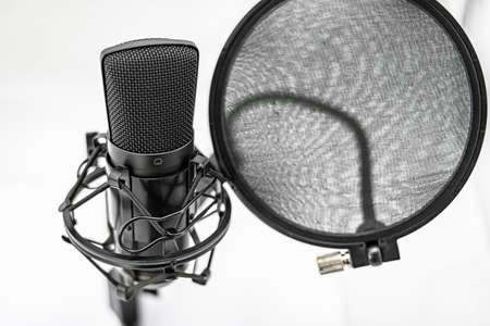 Large capsule condenser microphone with stand and antipop filter