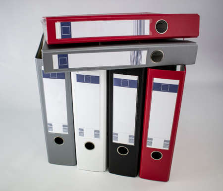 Assorted colored document file cabinets for office Stock fotó