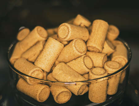 Corks grouped in a bowl to keep wine in bottles Stok Fotoğraf