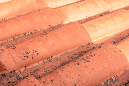 Red roof tiles installed on the roof of a house on a sunny day with signs of mold due to the winters suffered and the lack of light