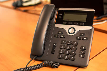 Office IP telephone set with big LCD at office desk