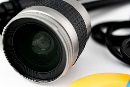 Close-up of shutter and lens of a photo camera lens, on white background Stok Fotoğraf