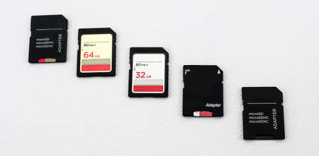 memory cards of different capacity and sd and micro sd format with adapters