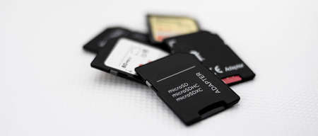 Set of sd and micro sd memories with adapters for information and data storage 写真素材