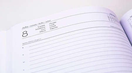 Agenda to record daily tasks and appointments, with identification of the day and month in several languages