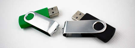 Memory units made of metal and satin plastic, with usb connection, for data storage 写真素材