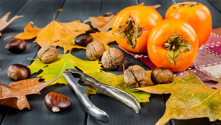 Persimmons with autumn leaves and fruits such as chestnuts, hazelnuts, walnuts and almonds, with an opener on gray wooden board