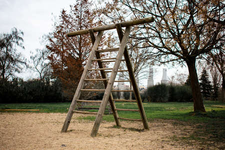 Double wooden staircase located in an exercise park