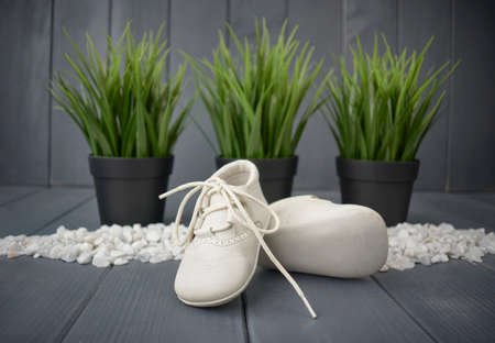 Close-up of white newborn shoes with laces, placed one on top of the other, on gray wooden background and three green plants