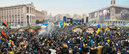 """maidan: Panorama of the main square in Kiev during protests.  Thousands of people came to support peaceful struggle.  """"Euromaidan"""" started as protest action against President Vicktor Janukovich decision about European integration and continued as strong resistanc"""
