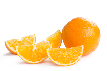 segments: Ripe orange fruit and his segments isolated on white background