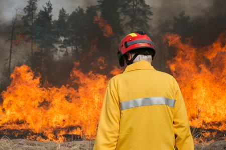 bombero: Boyarka, Ucrania - 27 MART 2015: Bombero o bomberos en el fuego las tierras agr�colas. Fue formaci�n demostraci�n de combatientes y estudiantes de incendios forestales en la supresi�n de fuego de superficie de intensidad media en la estaci�n de investigaci�n forestal Boyarka en Ucrania.