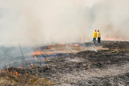 bombero: Boyarka, Ucrania - 27 MART 2015: Bombero o bomberos en tierras agr�colas despu�s del fuego. Fue formaci�n demostraci�n de combatientes y estudiantes de incendios forestales en la supresi�n de fuego de superficie de intensidad media en la estaci�n de investigaci�n forestal Boyarka en Ucrania.