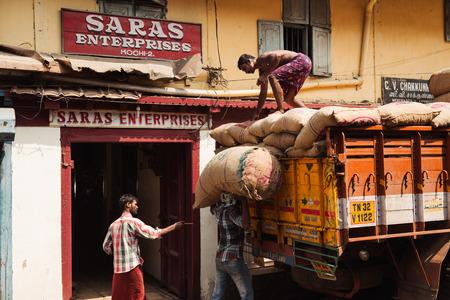 kochi: Kochi, India - November 28, 2015: Indian people working on the street in Mattancherry district, Kochi Cochin, Kerala, India