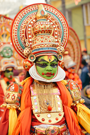 kochi: Kochi, India - January 1, 2016: Portrait of kathakali dancer on New Year carnival in Fort Kochi Cochin, Kerala, India.