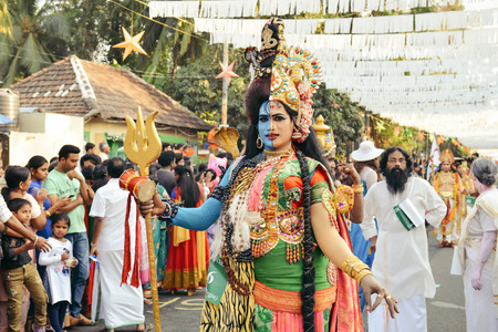 kochi: Kochi, India - January 1, 2016: Traditional dance during New Year carnival in Fort Kochi Cochin, Kerala, India. Editorial