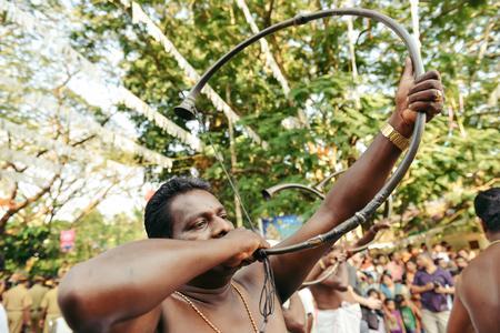 kochi: Kochi, India - January 1, 2016: Traditional musician on New Year carnival in Fort Kochi Cochin, Kerala, India.