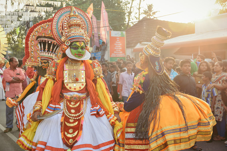 kochi: Kochi, India - January 1, 2016: Traditional Kathakali dance on New Year carnival celebration in Fort Kochi Cochin, Kerala, India. Editorial