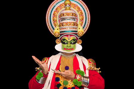 Cochin, India - January 23, 2016: Kathakali performance in Cochin Cultural Centre. Indian Kathakali dancer, Kerala, Fort Kochi. Kathakali is one of the oldest classical dance forms of Kerala and known as Ramanattam. Editorial