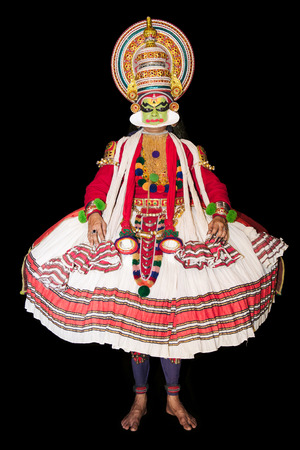 kathakali: Cochin, India - January 23, 2016: Kathakali performance in Cochin Cultural Centre. Indian Kathakali dancer, Kerala, Fort Kochi. Kathakali is one of the oldest classical dance forms of Kerala and known as Ramanattam. Editorial