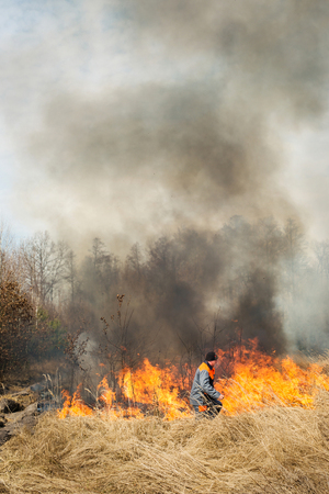 protection of land: BOYARKA, UKRAINE - 26 MART 2015: Firefighter or firemen on agriculture land fire. It was demonstration training of forest fire fighters on suppression of surface fire.