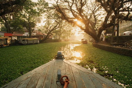 alappuzha: Beautiful backwaters landscape in Alleppey city with sunrise on background, Kerala, India Stock Photo