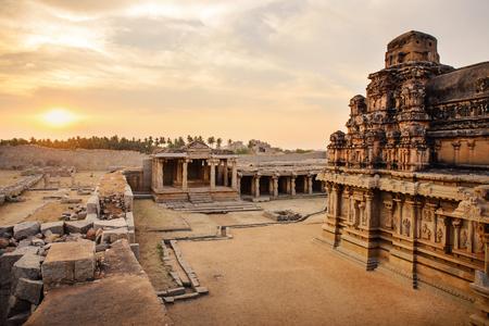 karnataka culture: Beautiful ancient ruins of Hazara Rama temple in Hampi, Karnataka, India