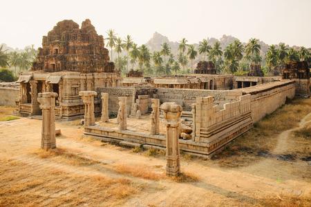 karnataka culture: Beautiful view of ancient ruins of Achutaraya temple in Hampi, Karnataka, India Stock Photo