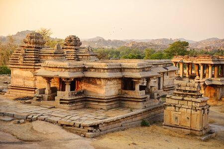 karnataka culture: Architecture of ancient ruins of temple in Hampi, Karnataka, India Stock Photo