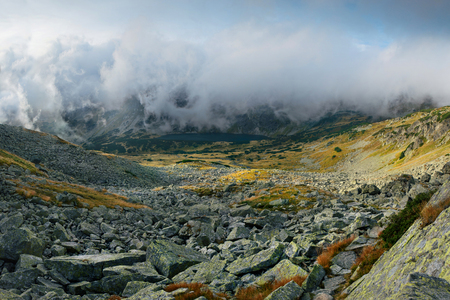 morskie: View on five lakes valley from Eagles Path in Tatra Mountains, Poland