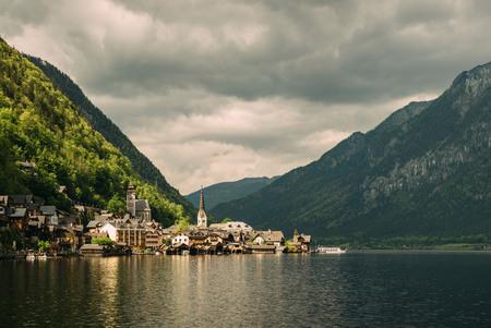 tirol: Hallstatt village in Alps reflected mountain lake. Gosausee, Tirol, Austria