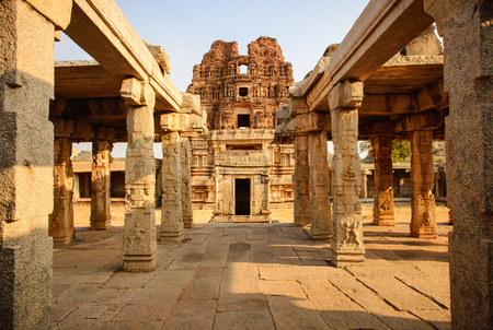Beautiful columns architecture of ancient ruins of temple in Hampi, Karnataka, India