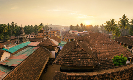 Morning cityscape of old indian city in Karnataka state. Top view at sunrise